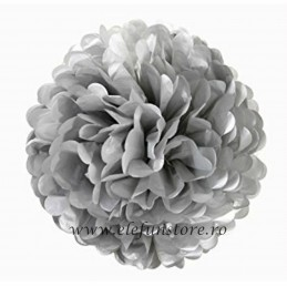 Floare Pom Pom Argintiu 30 cm
