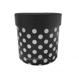 Cutie Rotunda Neagra cu Buline Albe 12 cm