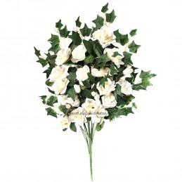 Buchet 16 fire trandafiri albi 75 cm