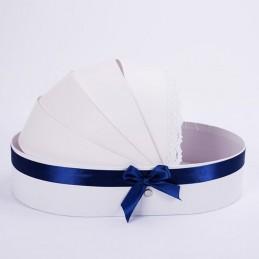 Cutie tip landou bleu cu dantela 35 cm