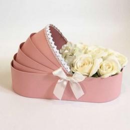 Cutie tip landou roz cu dantela 35 cm