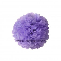 Floare Pom Pom Mov Inchis 40 cm