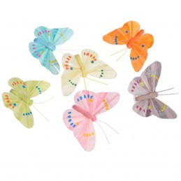 Set 12 Fluturi 7 cm cu clestisori, 6 culori