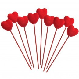 Set 9 inimioare rosii pe bat 23 cm