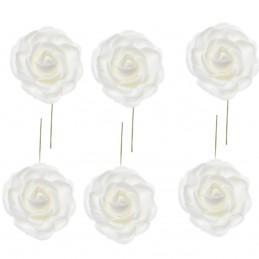 Set 12 trandafiri din spuma albi 5cm, cu sarma