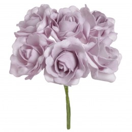 Set 6 trandafiri din spuma lila 7cm, cu sarma 25 cm