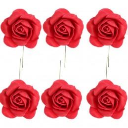 Set 8 trandafiri din spuma rosii 5cm, cu sarma