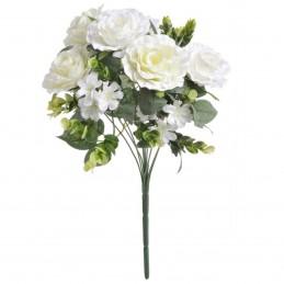 Buchet 11 fire trandafiri albi cu floricele 40 cm