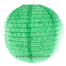 Lampion Verde Menta  35cm Perforat-Floricele