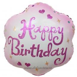 Balon Floare Roz Happy Birthday