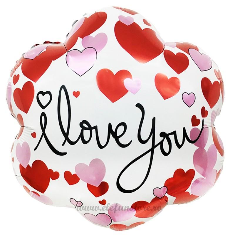 Balon Floare I LOVE YOU cu inimioare
