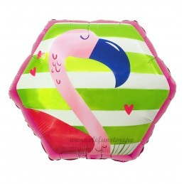 Balon Hexagon Flamingo Tropical 55cm