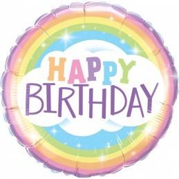 Balon Curcubeu Happy Birthday 45 cm