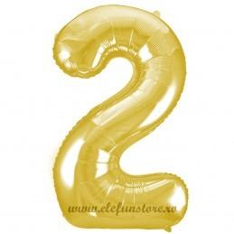 Balon Cifra 2 Auriu Slim 100 cm