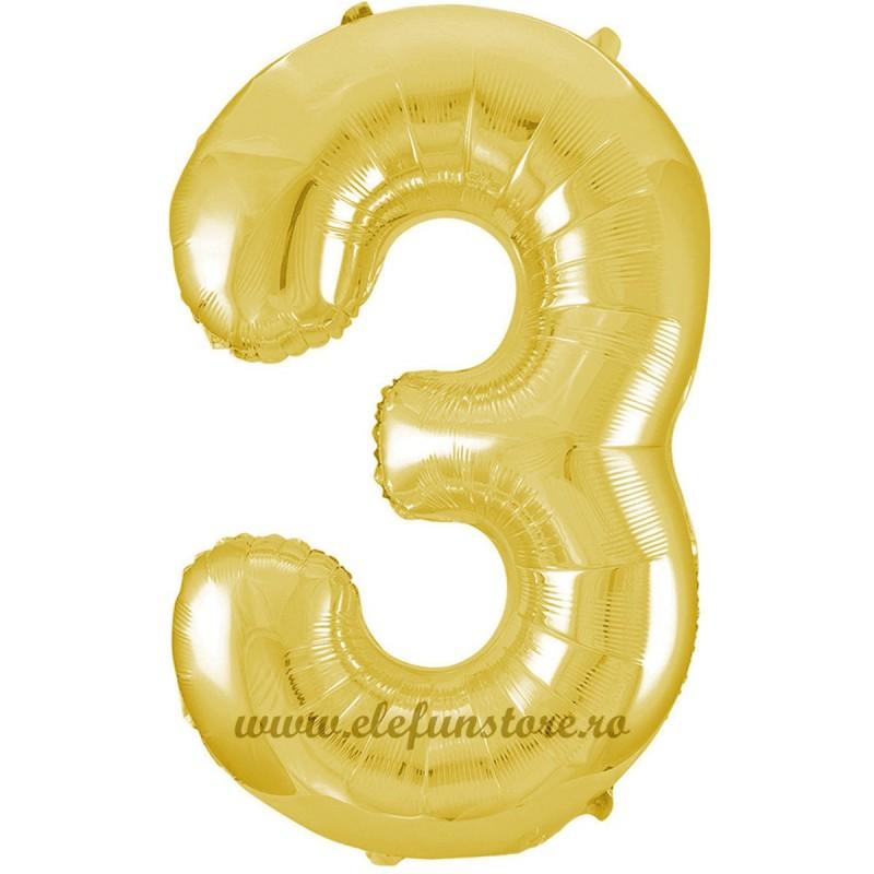 Balon Cifra 3 Auriu Slim 100 cm