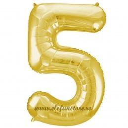 Balon Cifra 5 Auriu Slim 100 cm
