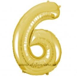 Balon Cifra 6 Auriu Slim 100 cm