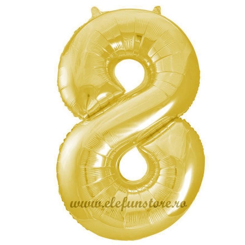 Balon Cifra 8 Auriu Slim 100 cm