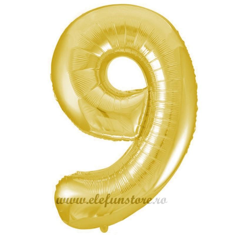Balon Cifra 9 Auriu Slim 100 cm