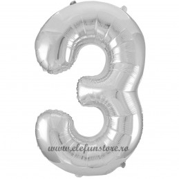 Balon Cifra 3 Argintiu Slim 100 cm