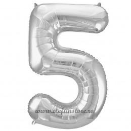 Balon Cifra 5 Argintiu Slim 100 cm