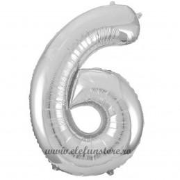 Balon Cifra 6 Argintiu Slim 100 cm