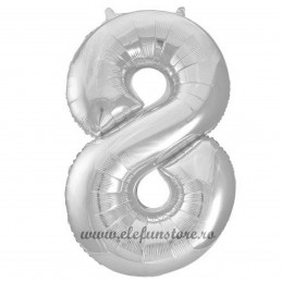 Balon Cifra 8 Argintiu Slim 100 cm
