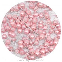 Set 100 Perle Roz 20 mm, cu sarma