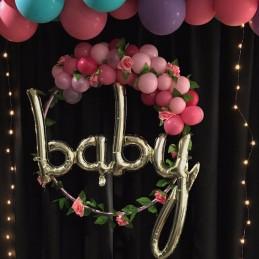 Balon Scris BABY Auriu Sampanie 90cm