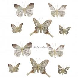 Set 10 Fluturi Royal Cream cu clestisori