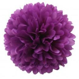 Floare Pom Pom Mov Inchis 50 cm