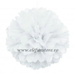 Floare Pom Pom Alba 50 cm