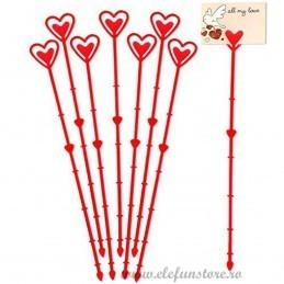 Set 10 betisoare inima rosii pt etichete 23 cm