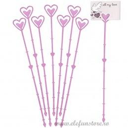 Set 10 betisoare inima roz pt etichete 23 cm