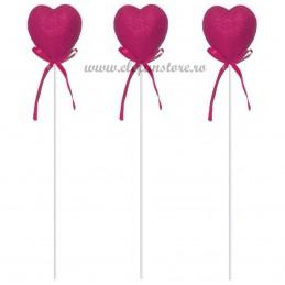 Set 12 inimioare glitter magenta pe bat 20 cm