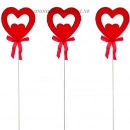 Set 12 inimioare duble catifelate rosii pe bat 23 cm