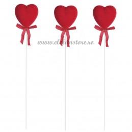 Set 12 inimioare catifelate rosii pe bat 21 cm