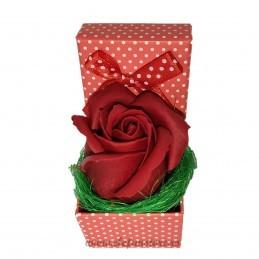 Cutiuta rosie cu bulinute si fundita 5 cm