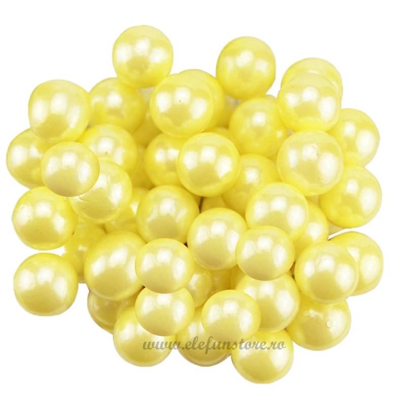 Set 100 Perle Galbene 10 mm, cu sarma