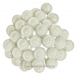 Set 100 Perle Albe 20 mm, cu sarma
