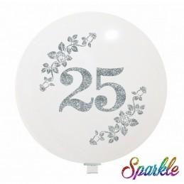 Balon Jumbo 25 cu sclipici argintiu