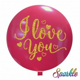 Balon Jumbo cu sclipici I LOVE YOU