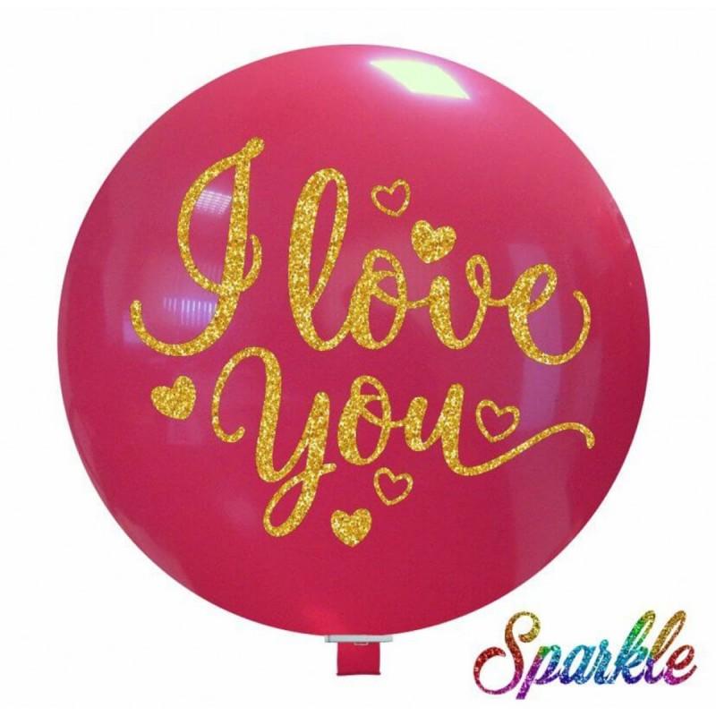 Balon Jumbo cu sclipici I LOVE YOU
