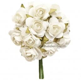 Set 144 trandafiri din hartie albi 1.5 cm
