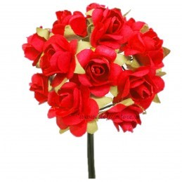 Set 144 trandafiri din hartie rosii 1.5 cm