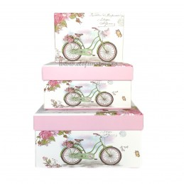 Set 3 cutii Bicicleta cu Trandafiri, 15-13-11 cm