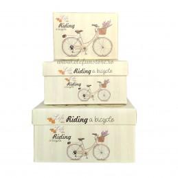 Set 3 cutii Bicicleta cu Levantica, 15-13-11 cm