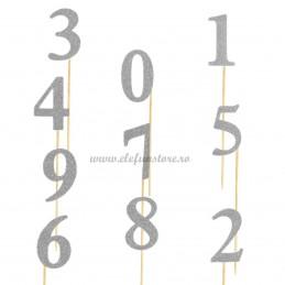 Set 10 Sabloane Foto Props Cifre 0-9 argintii cu sclipici
