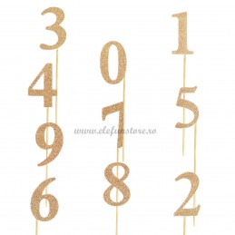 Set 10 Sabloane Foto Props Cifre 0-9 aurii cu sclipici