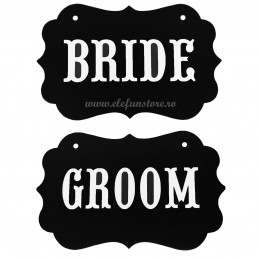 Set 2 Props-uri Tablita Neagra BRIDE, GROOM